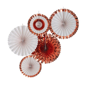 Decorative Party Fans - Rose Gold (x5)