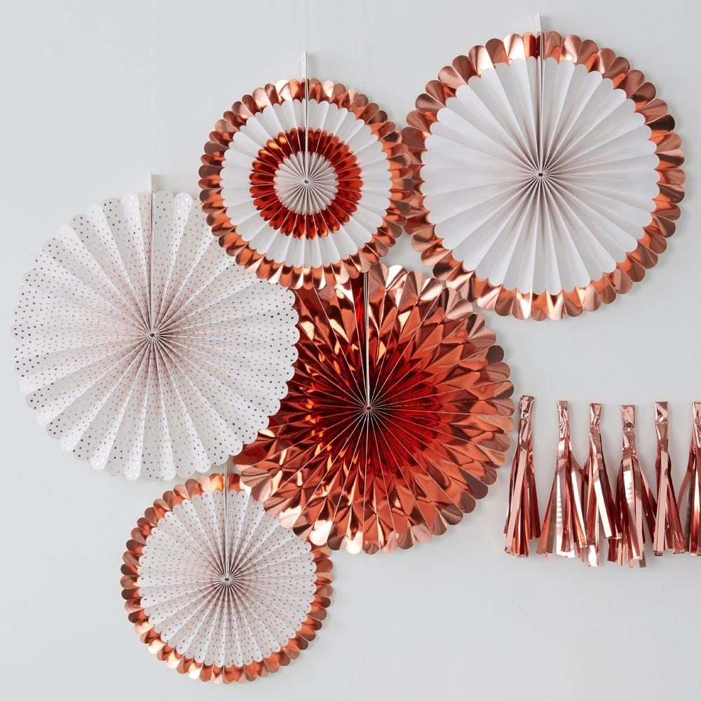 Rose Gold Party Fan Decorations (x5)