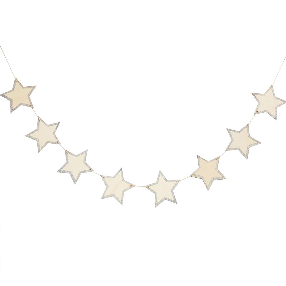 Wooden Rustic Star Bunting