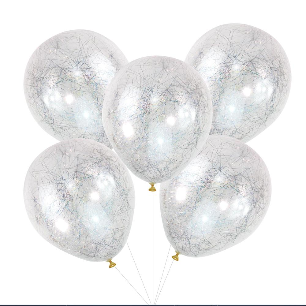 Angel Hair Confetti Latex Balloons - Silver (x5)