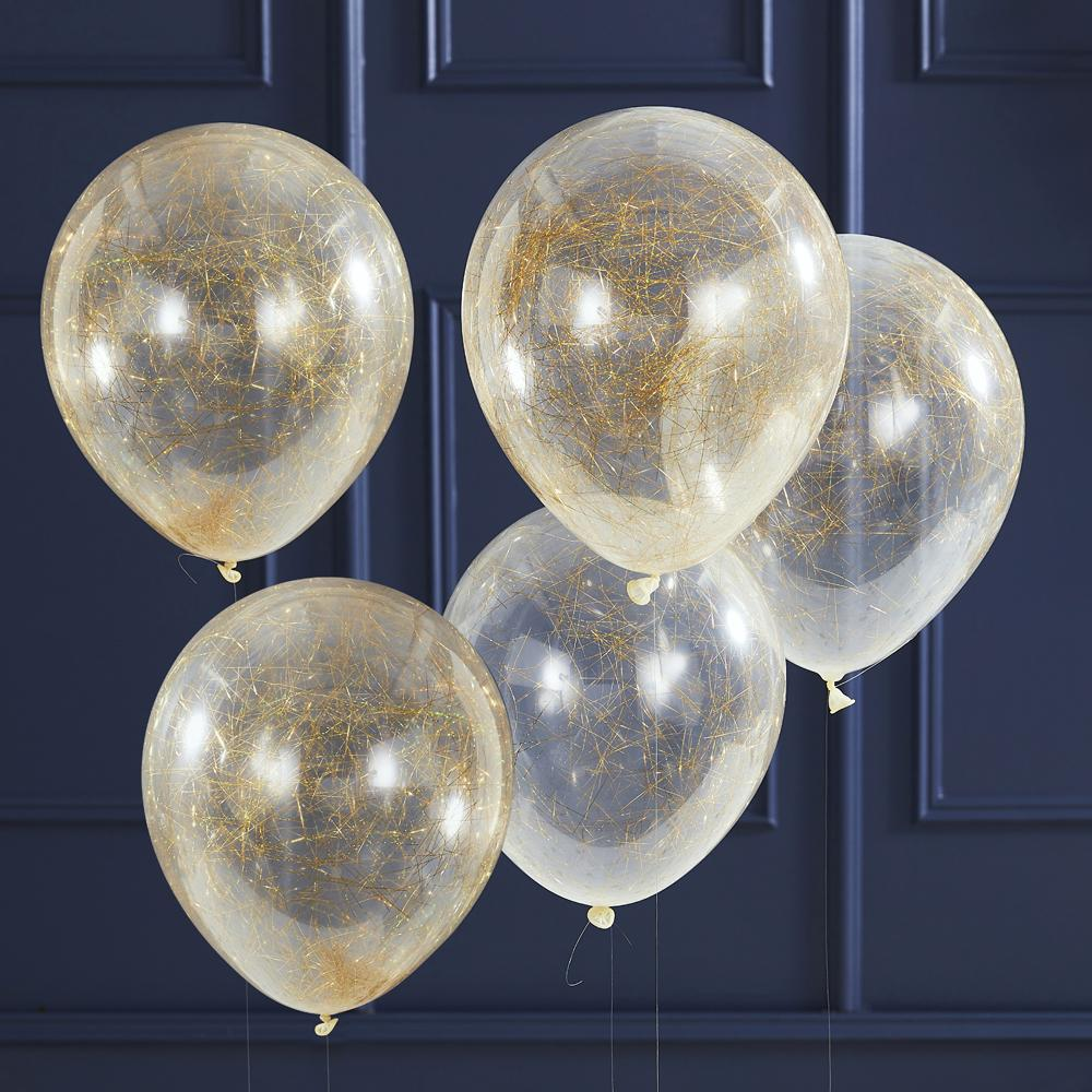 Gold Angel Hair Party Balloons (x5)