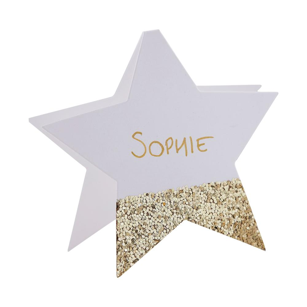 Star Shaped Place Cards - Gold Glitter