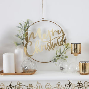 Gold Glitter Merry Christmas Door Wreath with Foliage
