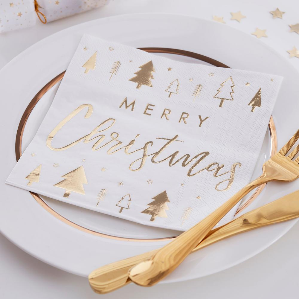Gold Merry Christmas Paper Party Napkins (x16)