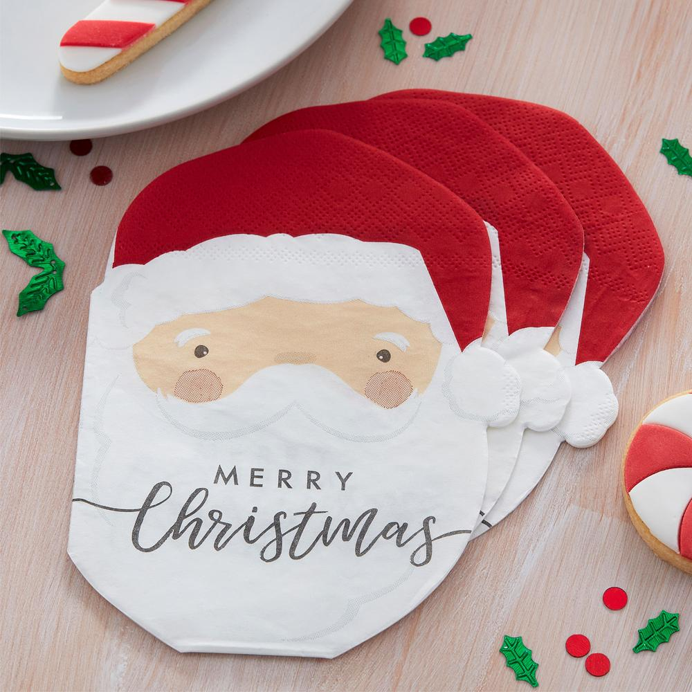 Santa Shaped Paper Party Napkins (x16)