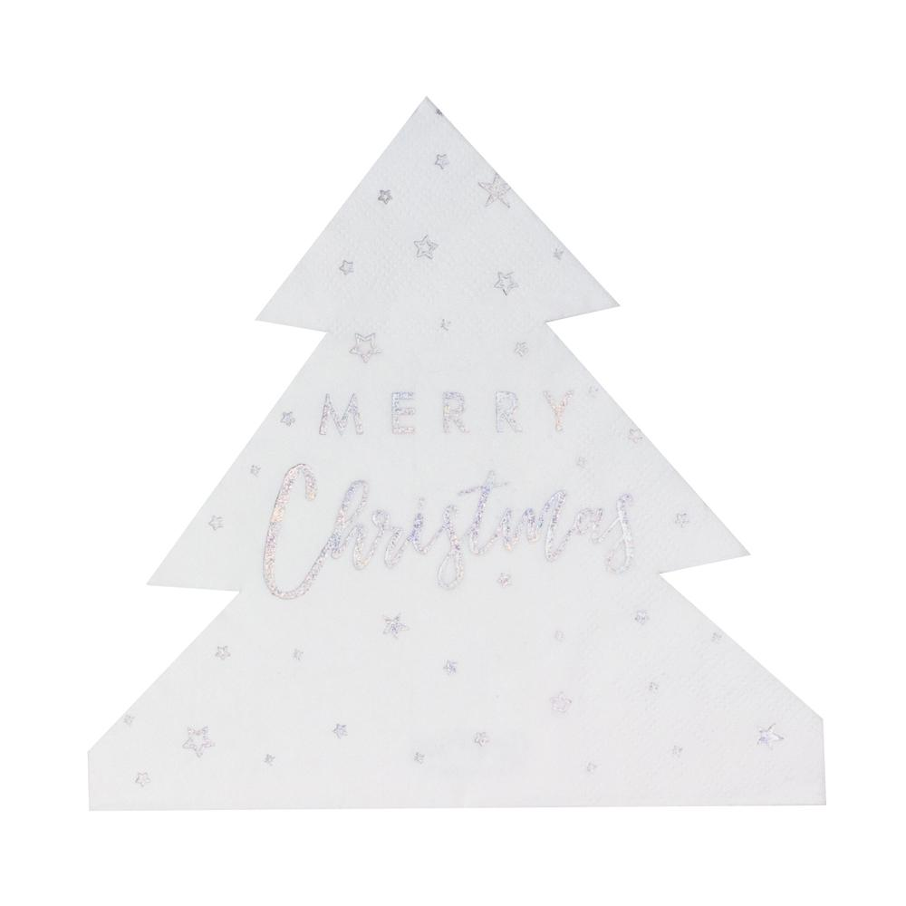 Christmas Tree Shaped Paper Party Napkins (x16)