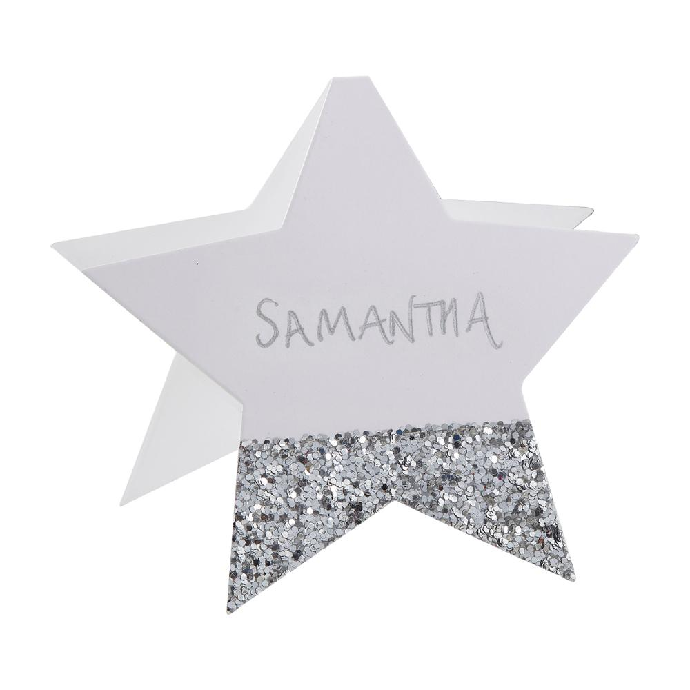 Silver Glitter Star Shaped Place Cards (x6)