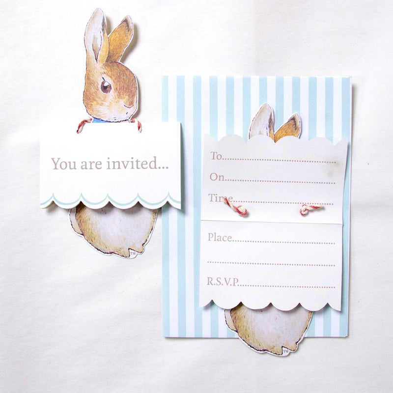 Party invitations with a vintage-styled Peter Rabbit party theme