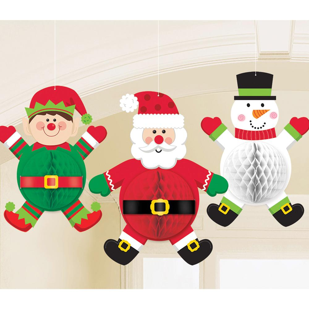 Christmas Characters Honeycomb Decorations (x3)