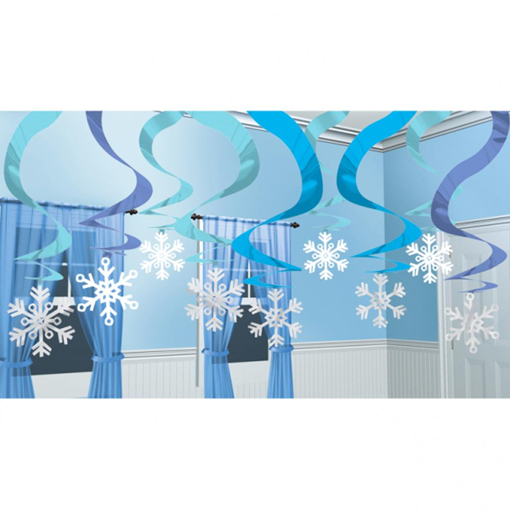 Winter Wonderland Hanging Swirl Decorations (x15)