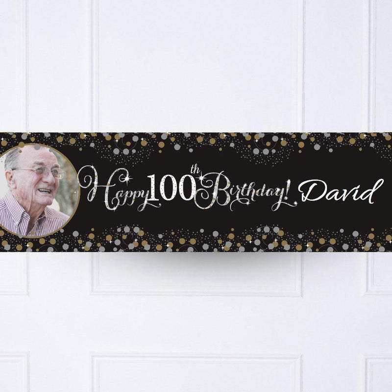 Gold Celebration 100th Personalised Party Banner