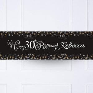 Gold Celebration 30th Personalised Party Banner