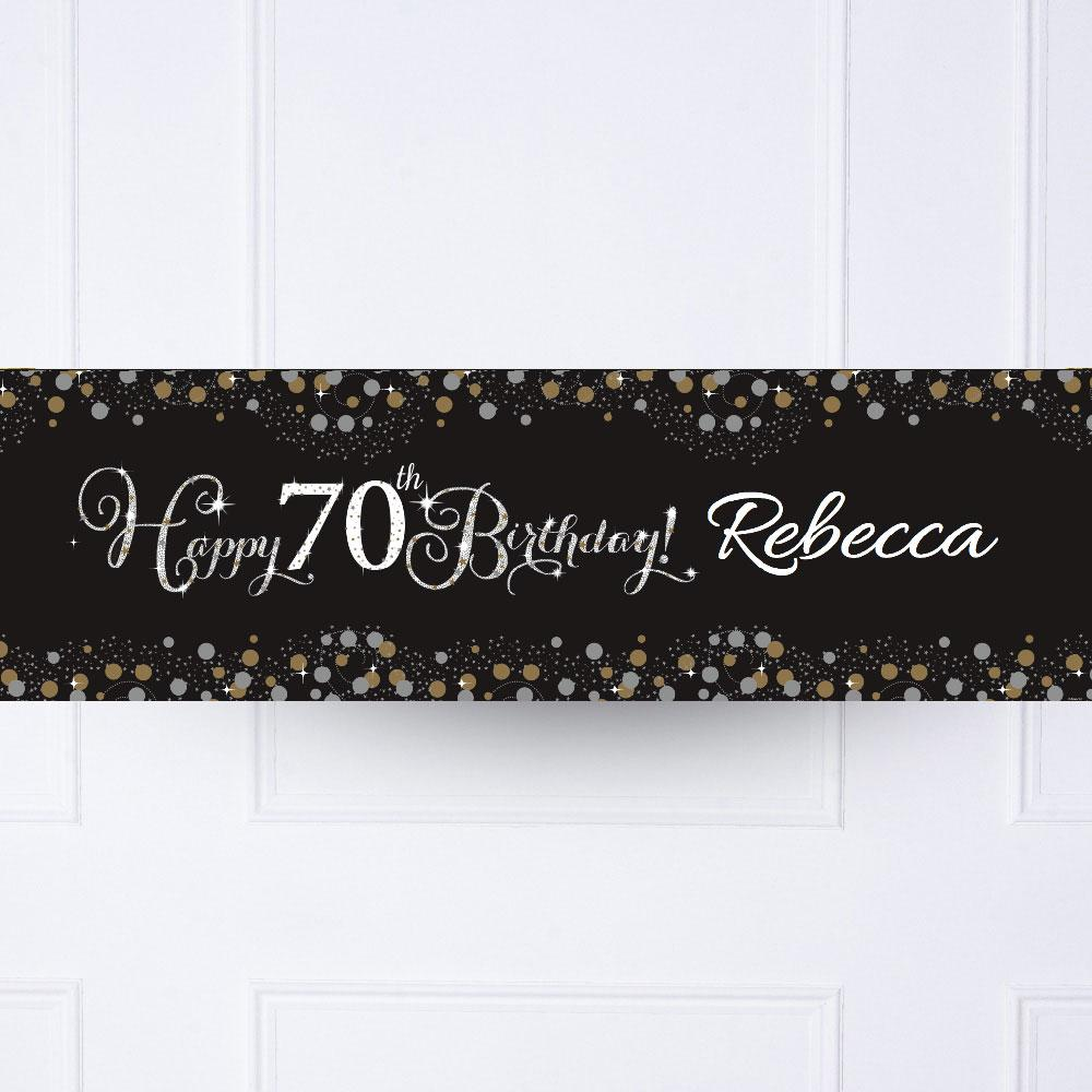 Gold Celebration 70th Personalised Party Banner