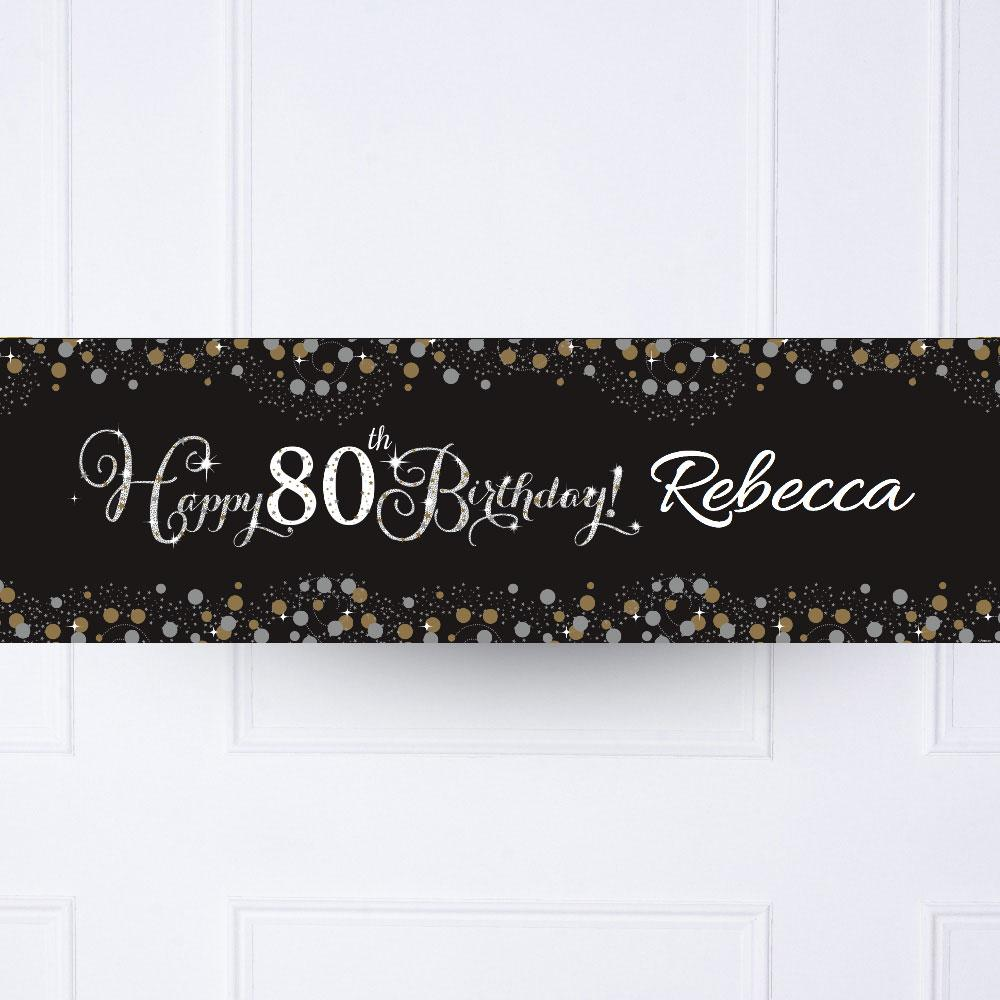 Gold Celebration 80th Personalised Party Banner