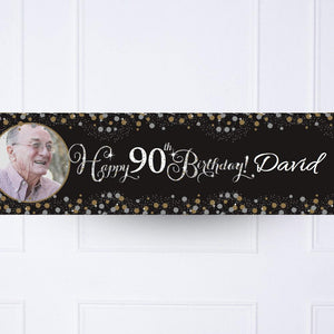 Gold Celebration 90th Personalised Party Banner