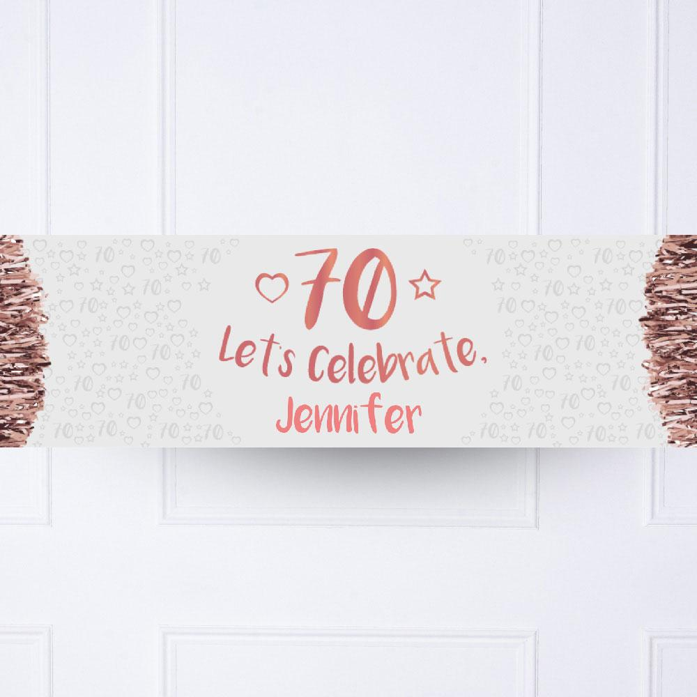 Rose Gold 70th Personalised Party Banner