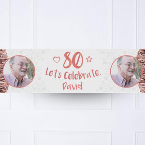 Rose Gold 80th Personalised Party Banner