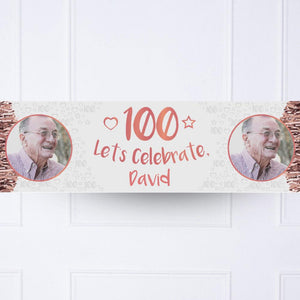 Rose Gold 100th Personalised Party Banner