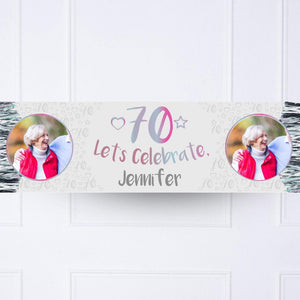 Iridescent 70th Personalised Party Banner