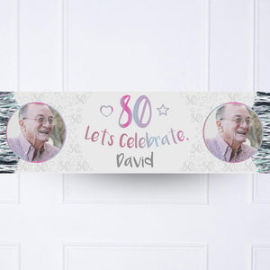 Iridescent 80th Personalised Party Banner