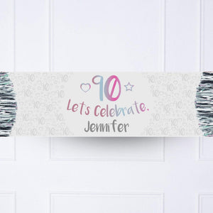 Iridescent 90th Personalised Party Banner