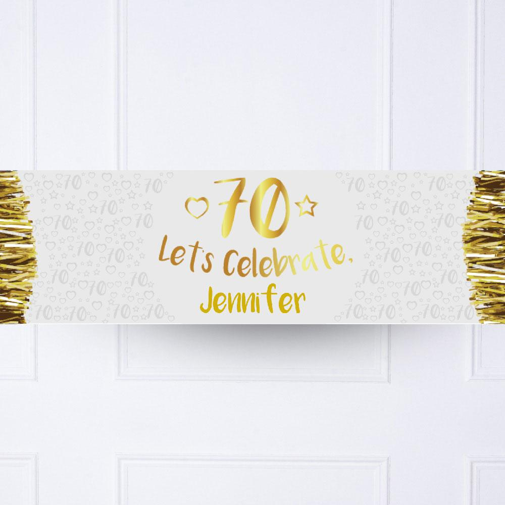 Gold 70th Personalised Party Banner