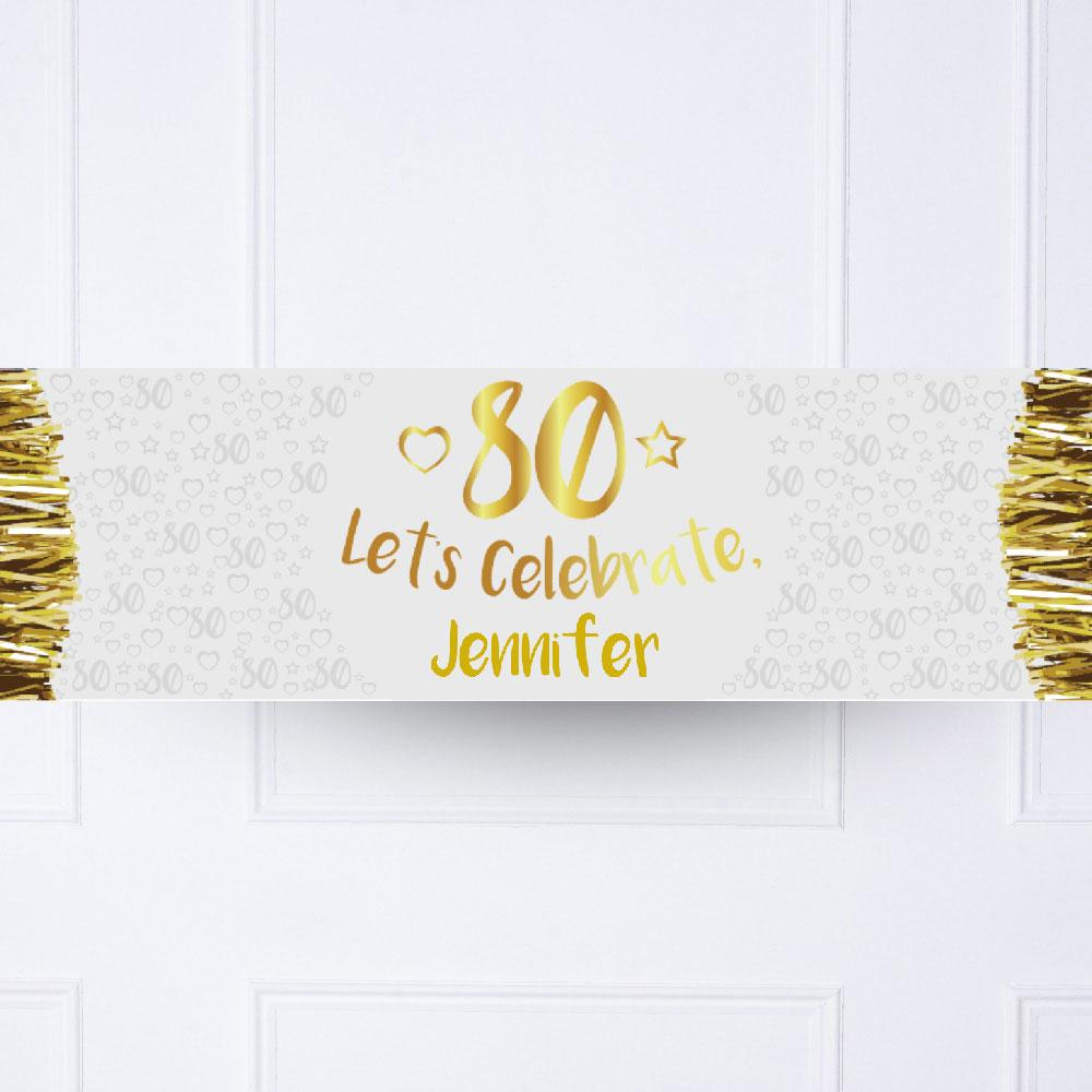 Gold 80th Personalised Party Banner