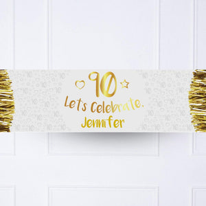 Gold 90th Personalised Party Banner
