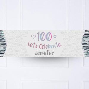 Iridescent 100th Personalised Party Banner