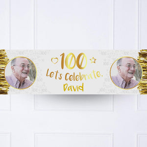 Gold 100th Personalised Party Banner