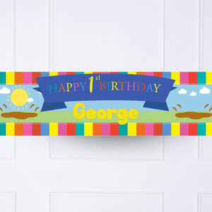 Muddy Puddles 1st Birthday Personalised Party Banner