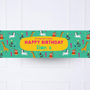 Animal Party 1st Birthday Personalised Party Banner