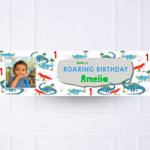 Party Dino 1st Birthday Personalised Party Banner