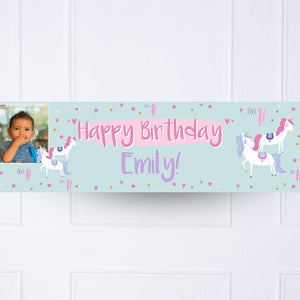 Unicorn Party 1st Birthday Personalised Party Banner