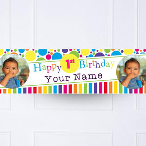Bright and Bold 1st Birthday Personalised Party Banner