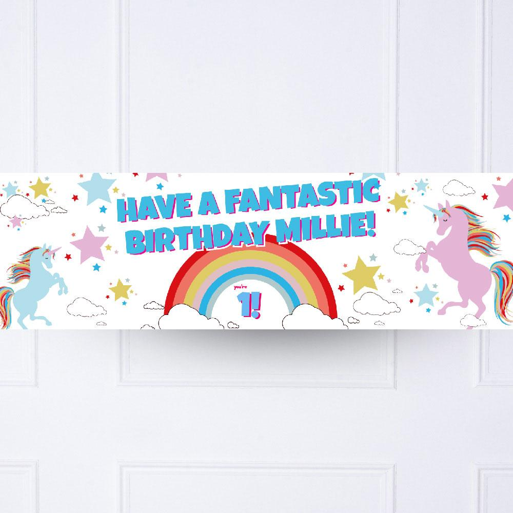 Unicorn Magic 1st Birthday Personalised Party Banner