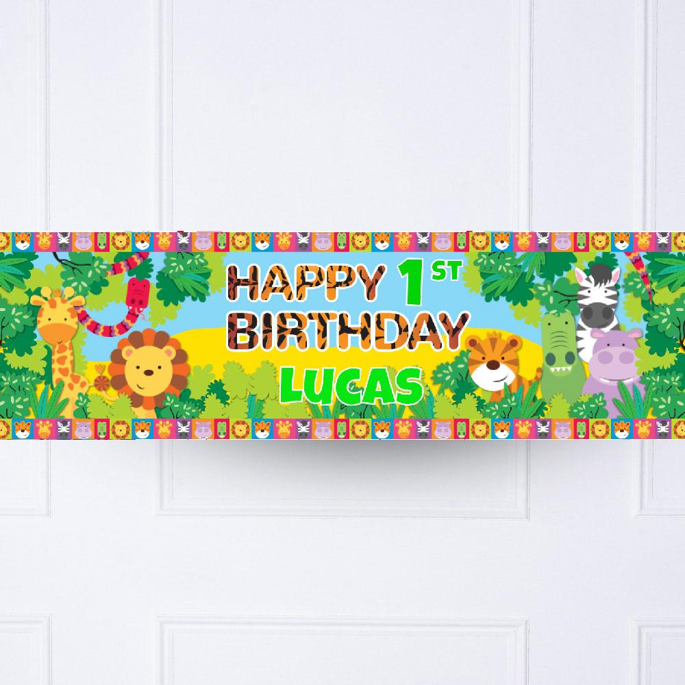Jungle Friends 1st Birthday Personalised Party Banner