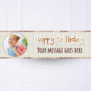 Kids Rose Gold Floral Birthday Personalised Party Banner