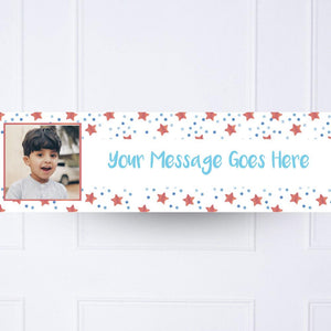 Kids Blue Twinkle Personalised Party Banner