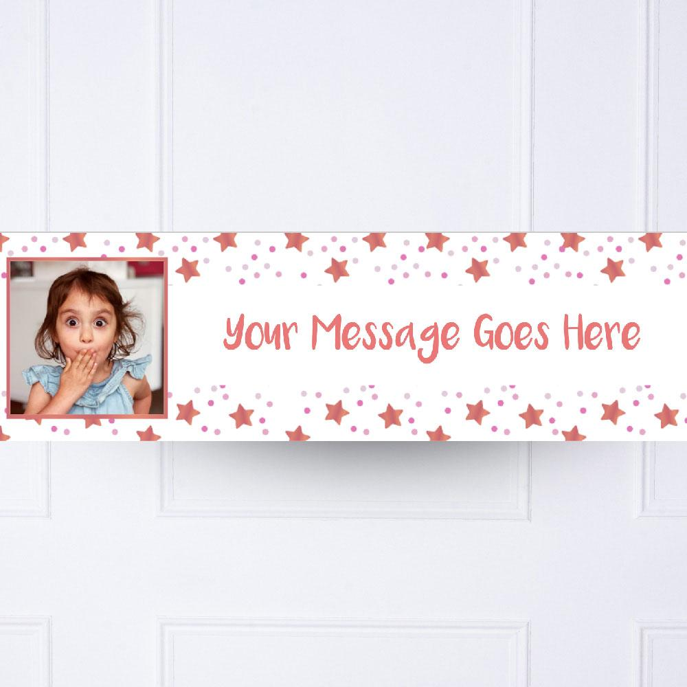 Kids Pink Twinkle Personalised Party Banner