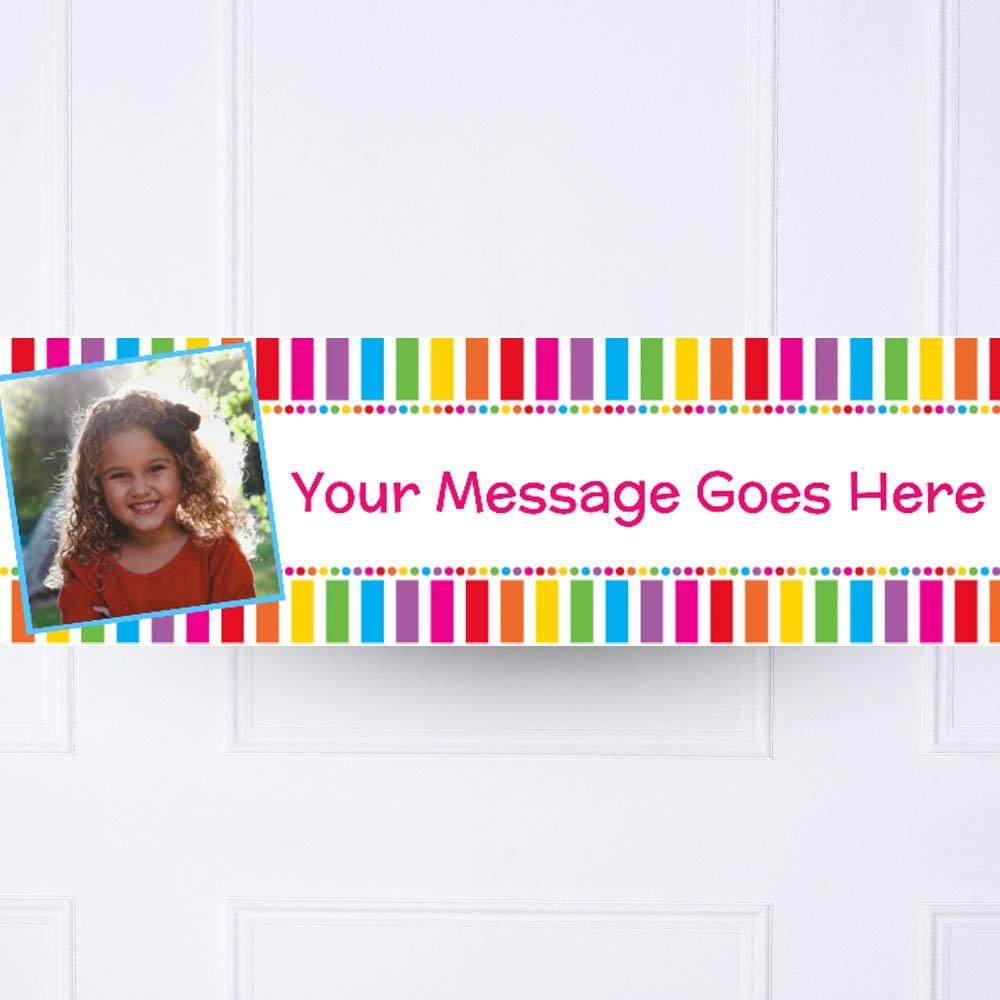 Kids Rainbow Stripe Multi Dots Personalised Party Banner