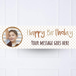 Kids Rose Gold Dots Birthday Personalised Party Banner