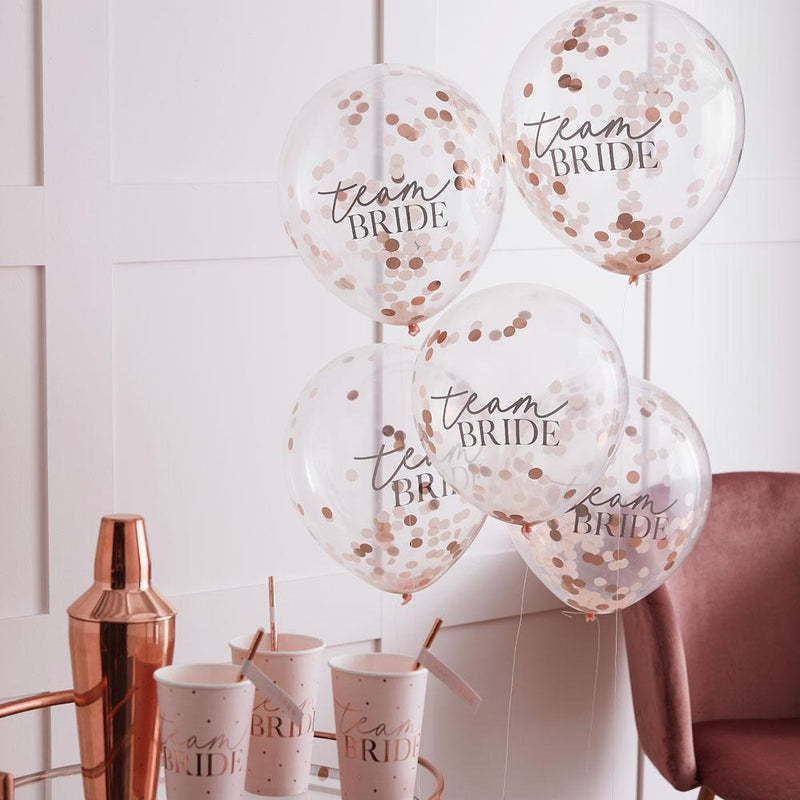 Blush Hen 'Team Bride' Confetti Balloons (x5)