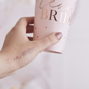 Blush Hen 'Team Bride' Tattoos (x16)