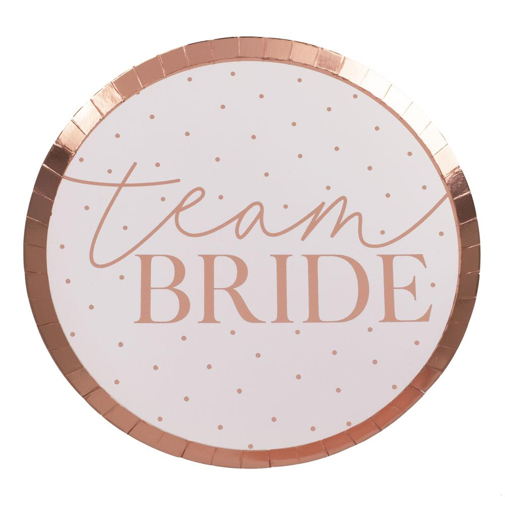 Blush Hen 'Team Bride' Plates (x8)