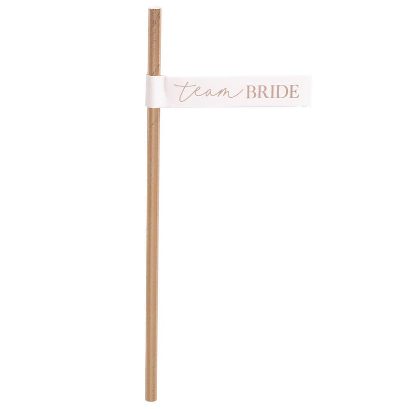 Blush Hen 'Team Bride' Flag Paper Straws (x16)