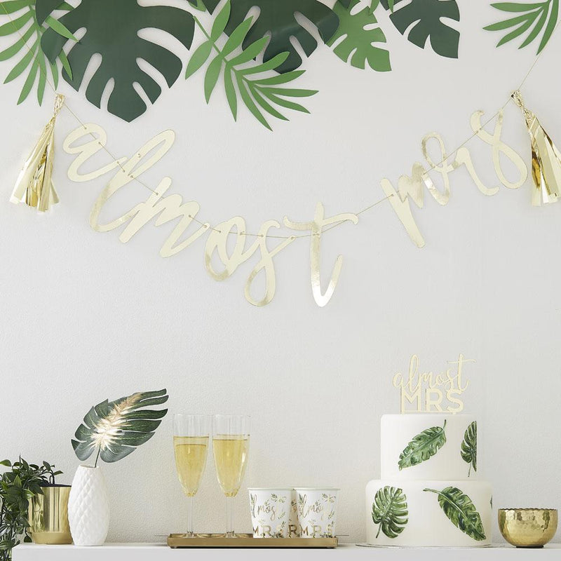 Botanical Gold 'Almost Mrs' Scripted Bunting
