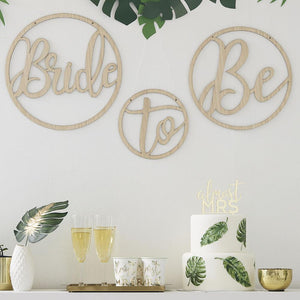 Botanical Wooden 'Bride' 'To' 'Be' Hoops (x3)
