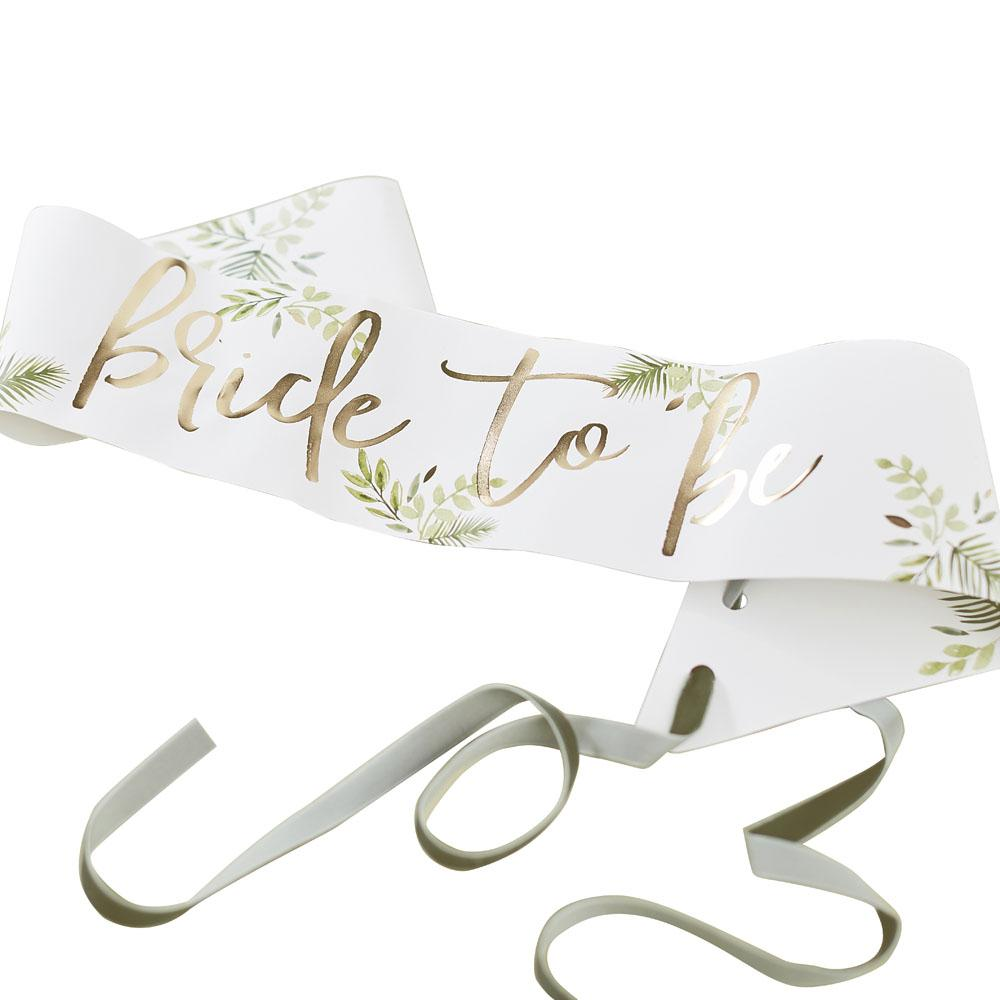 Botanical Gold Foiled 'Bride To Be' Sash