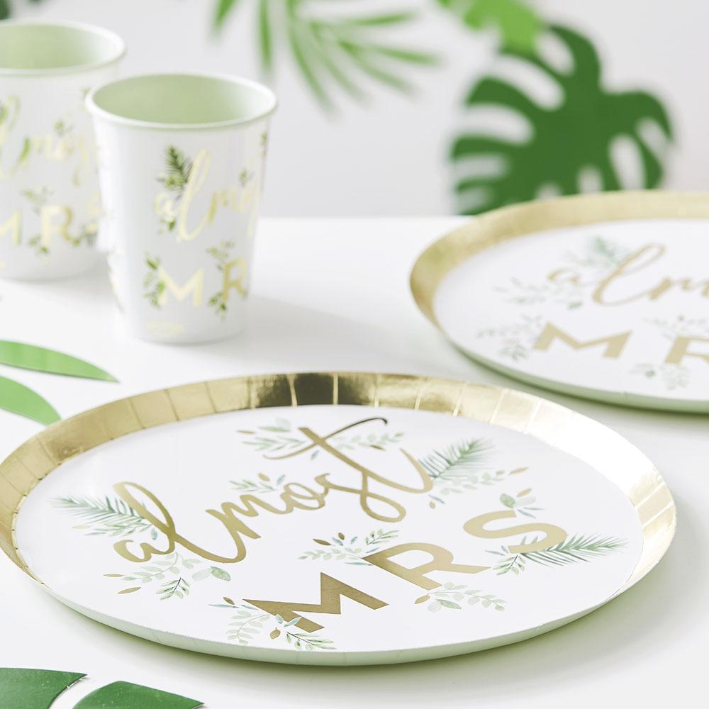 Botanical Gold Foiled 'Almost Mrs' Plates (x8)